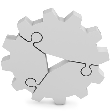 3d business  teamwork, partnership and success concept  gear from puzzle pieces on white background photo