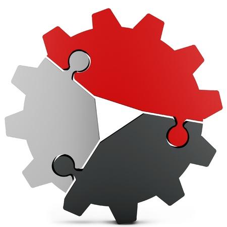 3d business teamwork, partnerschap en succesconcept versnelling van puzzel stukken op witte achtergrond