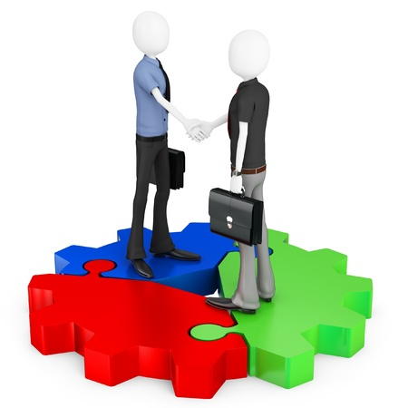gearwheel: 3d business man shaking hands with cogwheel on white background Stock Photo