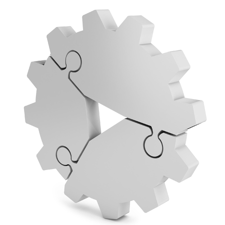 growth opportunity: 3d business  teamwork, partnership and success concept  gear from puzzle pieces on white background