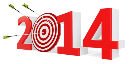 3d New year 2014 with target and arrows on white background photo