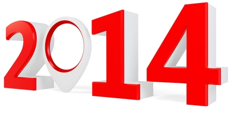point of interest: 3d year 2014 and interest point on white background Stock Photo