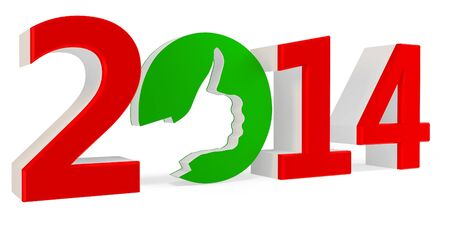 christmas profits: 3D green ok sign with year 2014 isolated on a white background