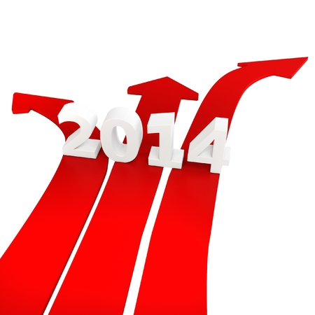 economic recovery: 3D path arrows with year 2014 isolated on a white background