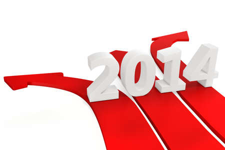upturn: 3D path arrows with year 2014 isolated on a white background