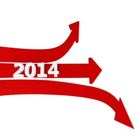 christmas profits: 3D path arrows with year 2014 isolated on a white background