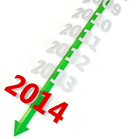 upturn: 3D green arrow with year 2014 isolated on a white background  Stock Photo