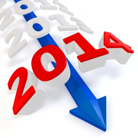 christmas profits: 3D blue arrow with year 2014 isolated on a white background