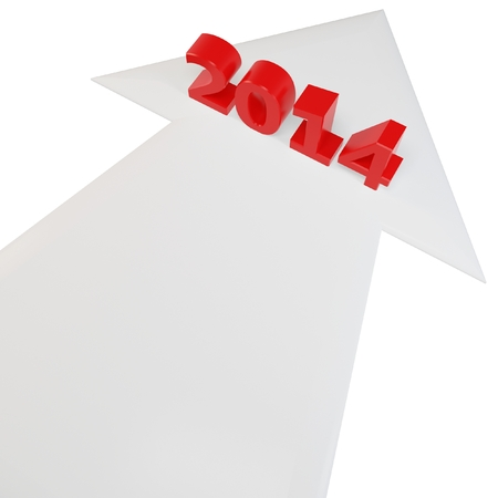 upturn: 3D arrow with year 2014 isolated on a white background  Stock Photo