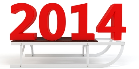 3d Happy New Year 2014 with sleigh on white background  photo