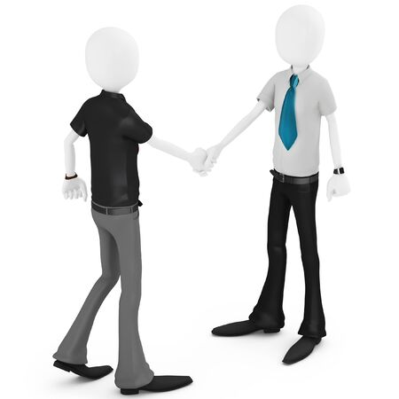 3d business man shaking hands meeting new people on white  photo