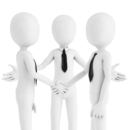 agreement shaking hands: 3d business man shaking hands meeting new people on white