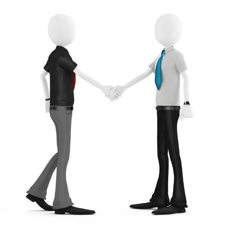cropped: 3d business man shaking hands meeting new people on white