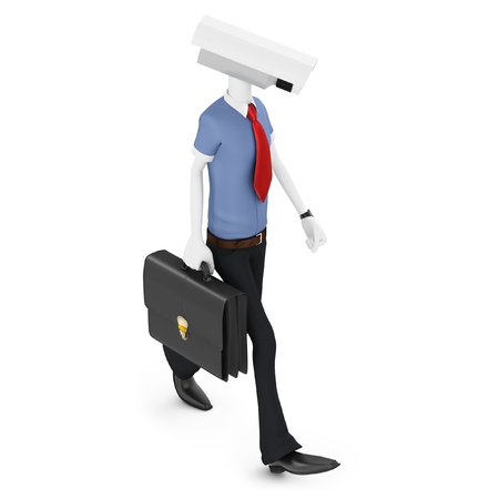 robot with shield: 3d man security camera surveillance on white