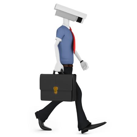 seguridad laboral: 3d hombre de vigilancia con cámaras de seguridad en blanco Foto de archivo
