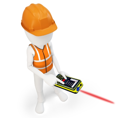 surveying: 3d man surveyor with laser distance meter ,hardhat and safety vest  on white