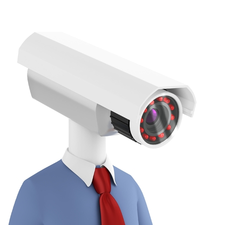 secrecy: 3d man close-up security camera surveillance on white  Stock Photo