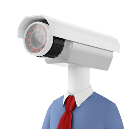 cctv camera: 3d man close-up security camera surveillance on white  Stock Photo