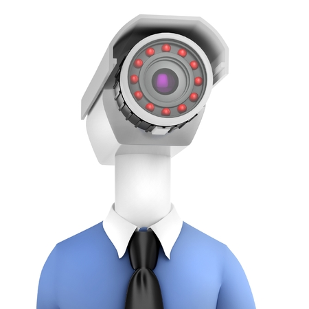 robot with shield: 3d man close-up security camera surveillance on white  Stock Photo