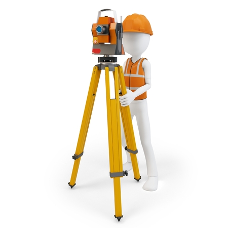 surveying: Hombre 3d top�grafo con la estaci�n, casco y chaleco de seguridad en blanco