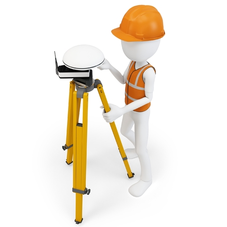 3d man surveyor with GPS station on white  photo