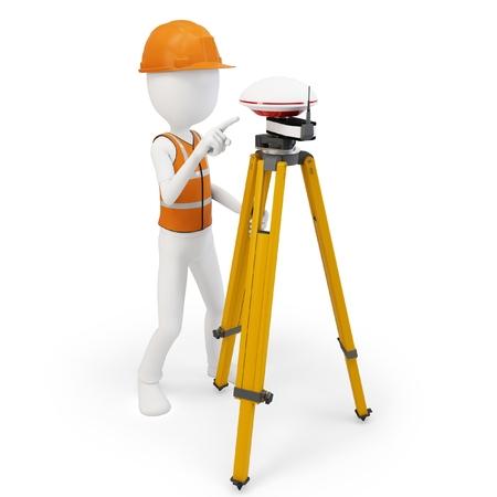 surveying: 3d man surveyor with GPS station on white  Stock Photo