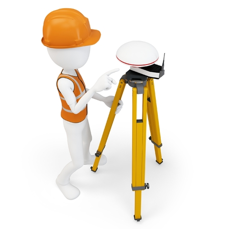 3d man surveyor with GPS station on white  Reklamní fotografie