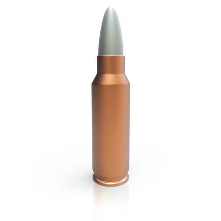 3d bullet: 3d generic cooper bullet on white background