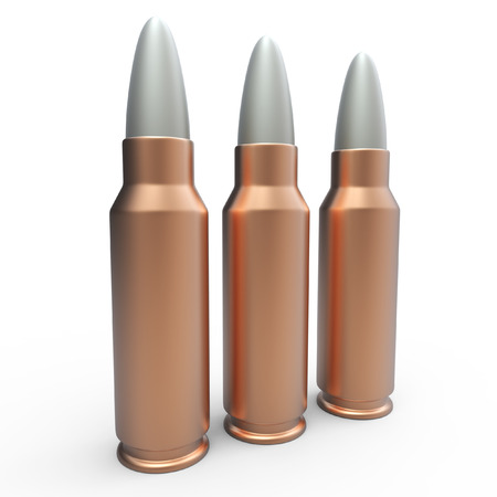 cooper: 3d generic cooper bullets on white background