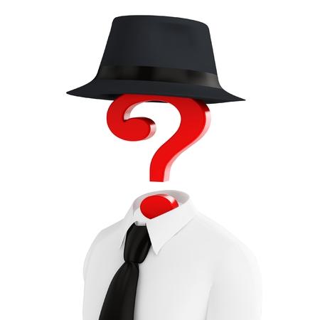 interrogativa: Disfraz humano 3d con el sombrero y el signo de interrogación aislado en blanco