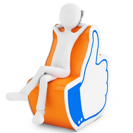 3d man with thumb up like hand symbol on white background  Stock Photo - 23478419
