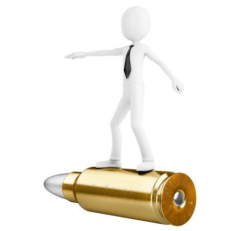 3d man riding a golden bullet isolated on white background photo