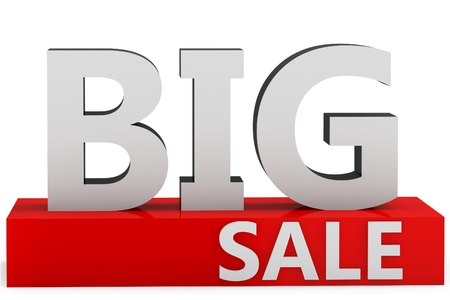 3d  big sale sign on white background photo