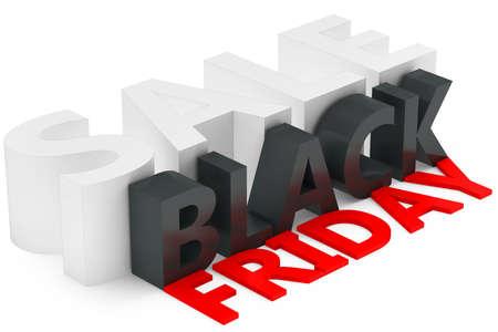 3d black friday big sale on white background photo