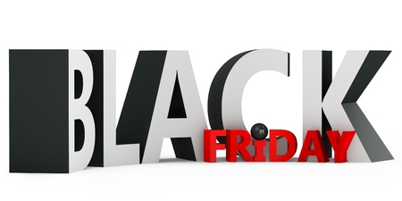 3d black friday big sale on white background photo