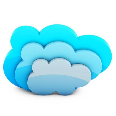 synchronizing: 3d cloud storage on white background