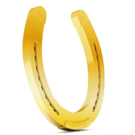 goodluck: 3d golden horseshoe lucky symbol on white background