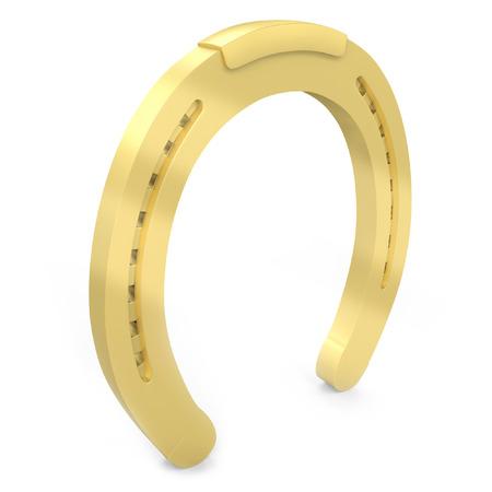 golden religious symbols: 3d golden horseshoe lucky symbol on white background