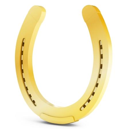 golden horseshoe: 3d golden horseshoe lucky symbol on white background