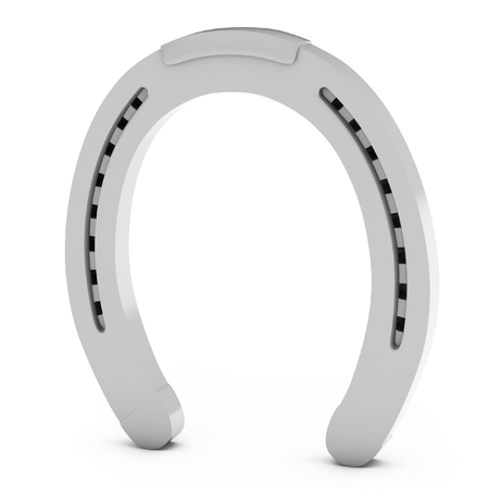 goodluck: 3d silver  horseshoe lucky symbol on white background