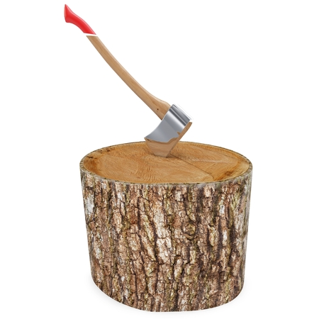 3d log with axe deforestation concept on white background photo