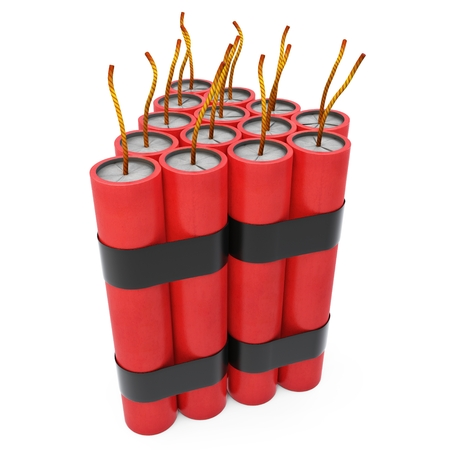3d dynamite pack with fuse on white background photo