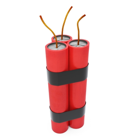 terrorism crisis: 3d dynamite pack with fuse on white background Stock Photo