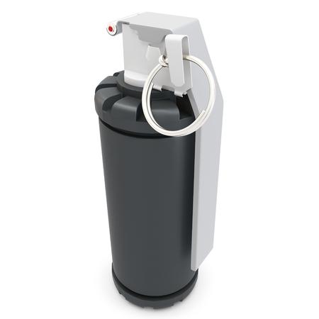 lanzamiento de bala: 3d detallado de flash granada de mano en el fondo blanco
