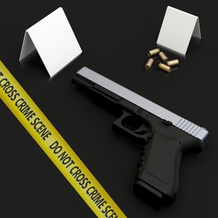 3d generic gun at crime scene with police tape on dark  Stock Photo
