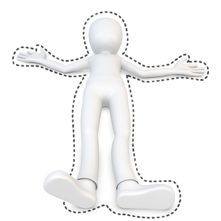 character assassination: 3d man at crime scene with black outline on white