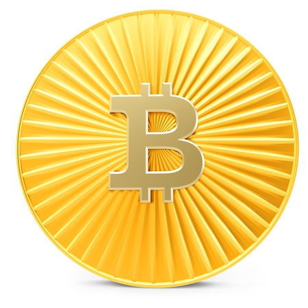 decentralized: 3d close-up of golden Bitcoin coin, decentralized crypto-currency on white Stock Photo