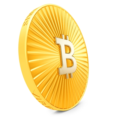 decentralized: 3d close-up of golden Bitcoin coin, decentralized crypto-currency on white