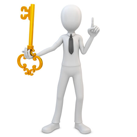 3d man with golden key on white  photo