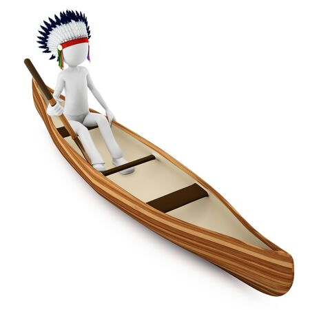 3d man indian warrior with canoe on white  photo
